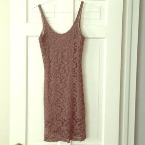 NWT LUCY LOVE Fully Lined Taupe Lace Dress Size S